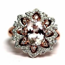 New 925 sterling silver rose plated morganite CZ fashion ring 5.4g womens ladies