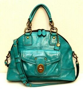 Coach  Legacy Francine Teal Patent Leather Satchel #12295