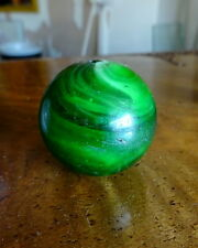 A Rare Antique Green White Swirls German Marbles Old Trade Beads 1800's