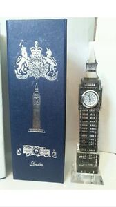 London Big Ben Clock (Large) Metal Plated Crystal With  Lights Souvenir Gift