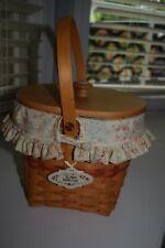 Longaberger 2001 Mothers Day Vintage Blossoms Basket Liner,protector, lid, tie