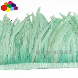 Mint Green 25-35cm 10-14inch Rooster Feather 2 Meter Tail Trims Cock Coque