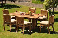 Giva GradeA Teak 7Pc Dining 69 Console Rectangle Table Armless Chair Set Outdoor