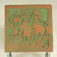 Mercer Moravian Pottery& Tile Works Green SHIP Art Tile La Perouse Bucks County