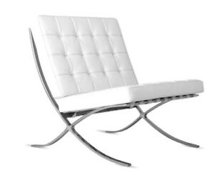 Modern Style Steel Frame With Italian White LEATHER (Chair only)