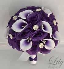 17 Piece Package Silk Flower Wedding Bridal Bouquet Picasso Calla Lily PURPLE WT