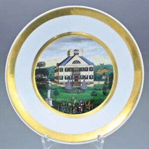 Fürstenberg um 1830: Teller mit Ansicht eines Herrenhauses, Miniatur Biedermeier