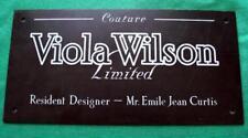 c1930 Genuine Brass Bronze Vintage Antique Sign Plaque : Viola Wilson Couture