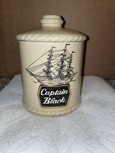 Captain Black Pipe Tobacco Humidor Jar/Canister with Pipe Rest/Holder Ceramarte