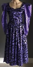 VINTAGE 1980's HINKE ZIECK Purple & Black Print Drop Waist Dress Size 10