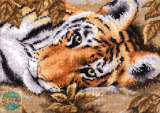 Cross Stitch Kit ~ Gold Collection Beguiling Tiger Autumn Leaves #65056