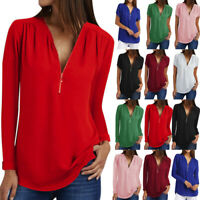 Womens V-Neck Zipper Pleated Tank Summer Shirts Ladies Long Sleeve Tops Blouse