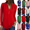 Womens V-Neck Zipper Pleated Loose Summer Shirts Ladies Long Sleeve Tops Blouse