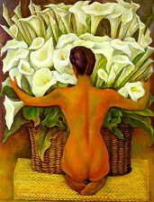 CHOP15 3pcs 100% hand-painted oil painting Nude with Calla Lilies art on canvas