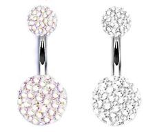 UK Shamballa Belly Bar Multi Crystal Double Ball Ferido Belly Bars Body Piercing