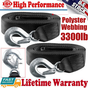 """Car Boat Tow Rope Trailer 2""""X20' Winch Strap With Snap Hook 10000Lbs W/ Hook US"""