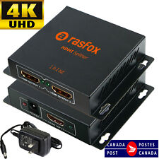 Powered HDMI Splitter 1X2 1 in 2 out Repeater Amplifier 4K 1080p, Connect 2 TVs