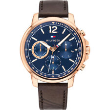 NEW TOMMY HILFIGER TH1791532 LANDON BLUE DIAL GENUINE MEN'S WATCH LEATHER STRAP