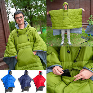 Outdoor Camping Hiking Cotton Down Poncho Coat Sleeping Bag Quilted Blanket Warm