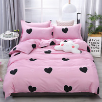 Heart Print Pink Bedding Set Duvet Quilt Cover+Sheet+Pillow Case Four-Piece HOT