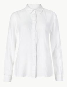M&S  White Pure Linen Shirt Plus Size  30 BNWT