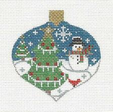 *NEW* Bauble Snowman & Trees handpainted Needlepoint Canvas Ornament by Danji