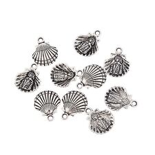 10pcs Clam Shell  Alloy Beads Charms Tibetan Silver Pendant For DIY 14*14mm