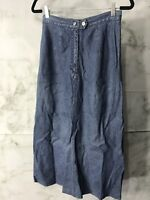 Newport News Vintage Womens Size 10 Long Blue Denim Flare Skirt MODEST Maxi