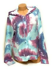 NWT Victorias Secret Pink Graphic Full Zip Hoodie Sweatshirt Lightweight Large