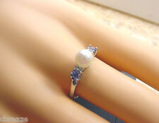 CULTURED AKOYA PEARL 6.48 mm BLUE SAPPHIRES and DIAMONDS 10K WHITE GOLD RING