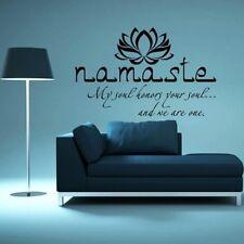 Black Décor Namaste Yoga Wall Sticker Decal Vinyl Lotus Flower India Boho