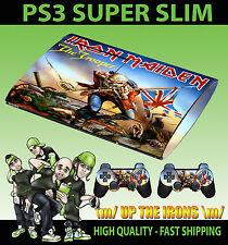 Playstation PS3 Super Slim Iron Maiden Trooper Eddie Pegatina de piel y 2 almohadilla de la piel