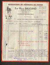 """VILLEFRANCHE-sur-SAONE (69) USINE de VETEMENTS de TRAVAIL """"Michel BALIGAND"""" 1953"""