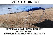 "NEW BLUE VORTEX STAINLESS STEEL FRAME BIMINI TOP 10 FT LONG, 91-96"" WIDE"