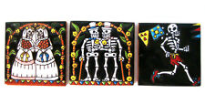 """Mexican Talavera 3 Tile Set Handmade Day of the Dead Collection 4.25"""" D"""