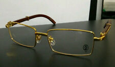 IMPORTED CARTIER  Full Frame, Eye-Glass, Eye-Wear gold  WITH WOOD SIDE 55-18-140