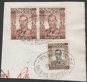 Southern Rhodesia 1937 KGVI Revenue £2 Brown x2, 2sh Used on Piece Fiscal BF22