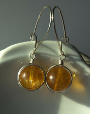 sterling silver genuine yellow citrine quartz handmade wire wrapped earrings