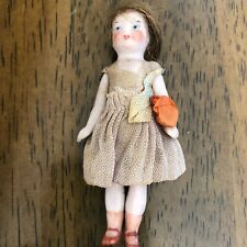"""Antique Girl All Bisque Jointed Doll 3"""" Molded Shoes Wig &  Antique Outfit"""
