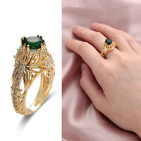 Women Jewelry Emerald Ring  Engagement Wedding Zircon Gemstone 14k Gold Plated