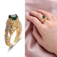Women Jewelry Emerald Ring  Engagement Wedding Zircon Gemstone 14k Gold Plated