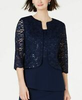 $145 Alex Evenings Women Blue Sequined Lace Sheer Evening Formal Jacket Size 12P