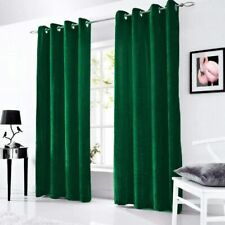 1 Piece Velvet Luxurious Lined Curtain Eyelet Panel Grommet Ringtop Drapes Green