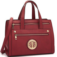 Dasein Fashion Women Handbag Faux Leather Work Satchel Tote Bag Medium Purse