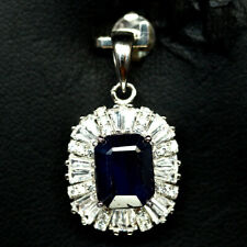 NATURAL 7 X 9mm. BLUE SAPPHIRE & WHITE CZ PENDANT 925 SILVER STERLING
