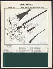 1993 WINCHESTER 24 Double Barrel SHOTGUN Schematic Exploded View Parts List AD