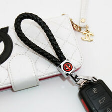 Universal Deadpool Emblem Key Chain Ring Bv Calf Leather Gift Decoration Black Fits More Than One Vehicle