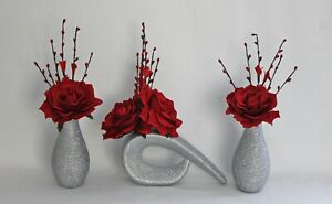 HANDMADE ARTIFICIAL (SET OF 3) SILK RED FLOWERS IN SILVER GLITTER VASES,