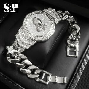 "Hip Hop White Gold Plated 8.5"" CZ Full Iced Praying Hands Cuban Fashion Bracelet"