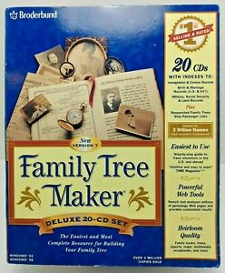 Family Tree Maker Version 7 Win 95/98: 20 CDs Software/Book Set Vintage Complete